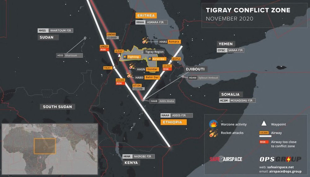 Tigray conflict zones -- airspace and airways