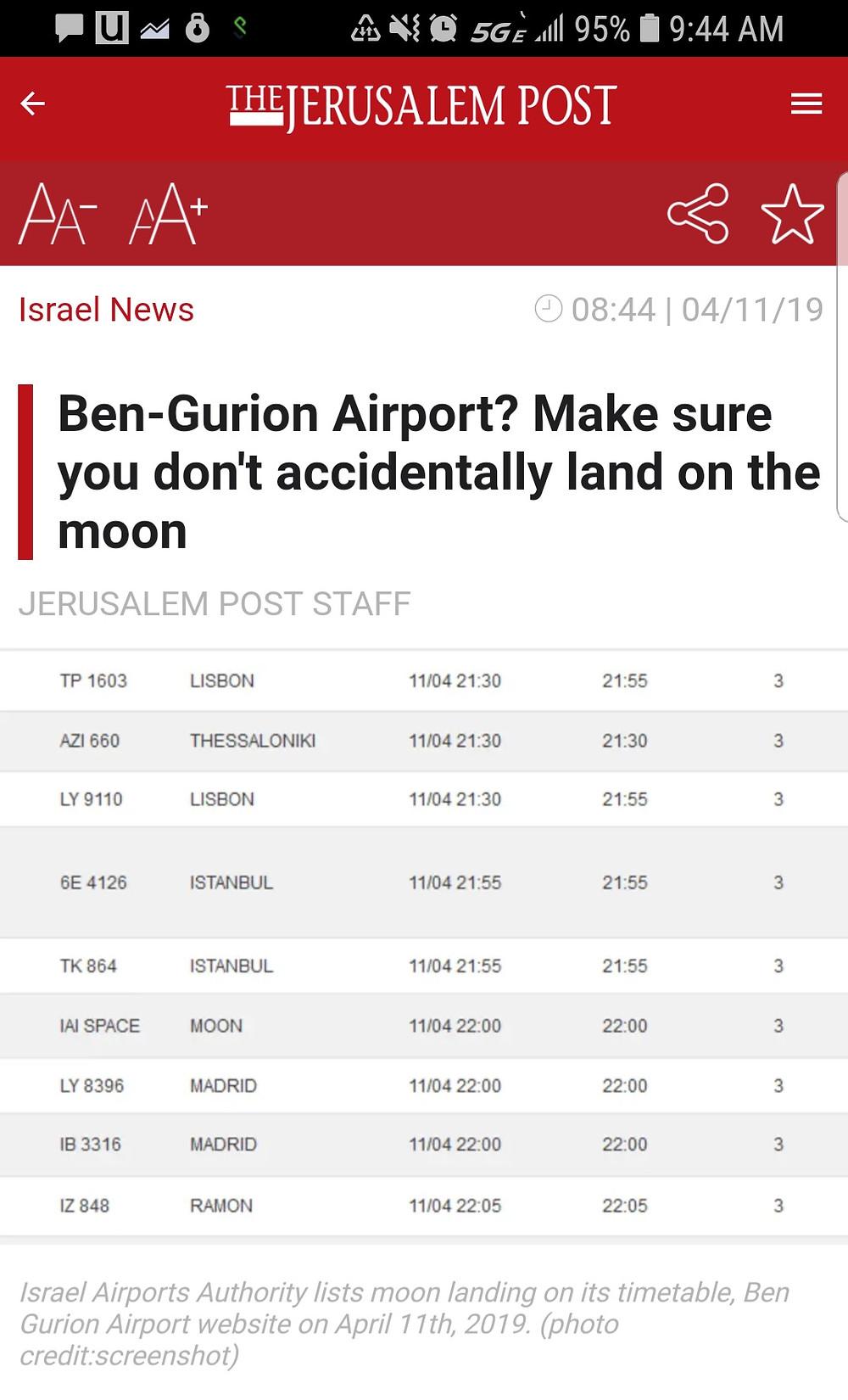 Tel Avivi Ben Gurion Airport Departures Screen Bereshit Moon Landing
