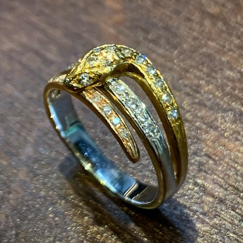Three colour gold and diamond snake ring