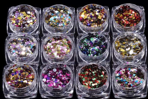 Nail Art Rhinestones Glitter Diamond 12 Colour Set