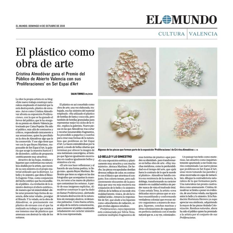 """PROLIFERACIONES.                         Artículo en """"El Mundo"""""""