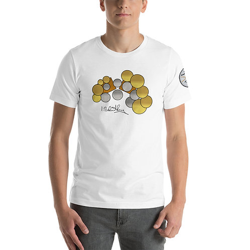 Short-Sleeve Unisex T-Shirt with Drumset, Signiture & Logo