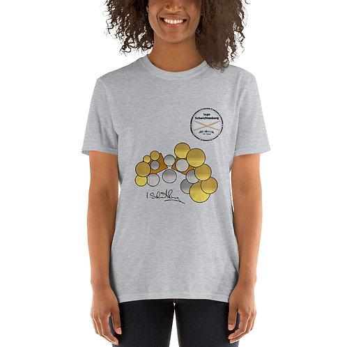Short-Sleeve Unisex T-Shirt with Drumset; Signiture, Logo & Sticks