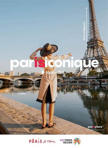 paris iconique woman near Seine river pointing at eiffel tour