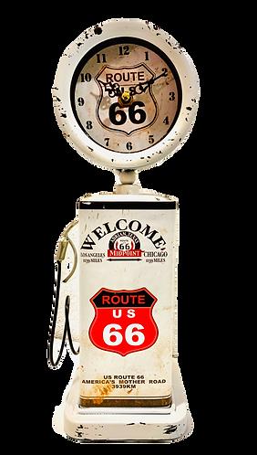 Tischuhr Zapfsäule Route 66 weiss