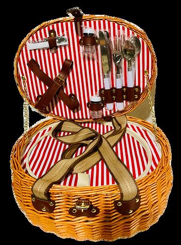 Picknickkorb für 2 Personen aus Weide, oval, 15-teilig