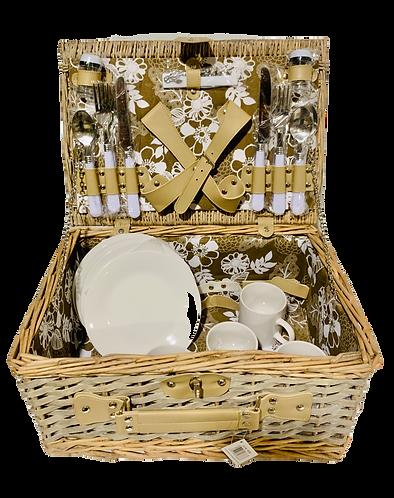Picknickkorb für 4 Personen aus Weide, 24-teilig