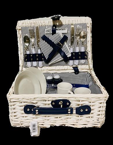 Picknickkorb für 2 Personen aus Weide, weiss, 16-teilig