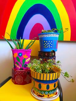 plant pots colourful