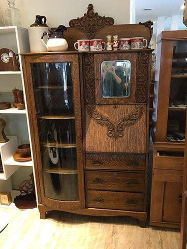Antique Wooden Writer's Desk / Curio Cabinet