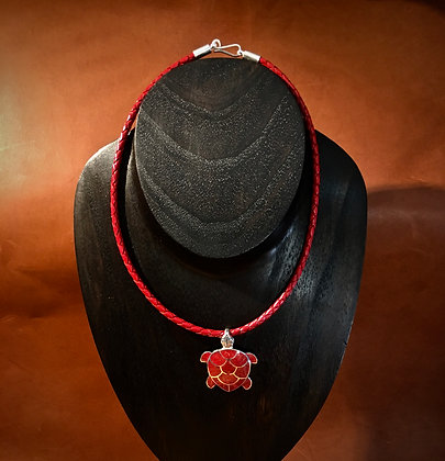 Sterling Silver Turtle With Red Coral Necklace
