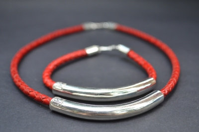 Red Sterling SIlver Tube Gift Set