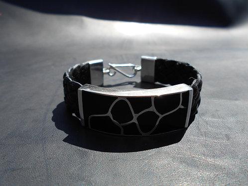 Onyx set in Sterling Silver Flat Bracelet