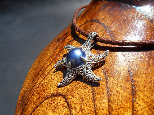 Sterling Silver Starfish with Dark Blue Mabe Pearl Necklace