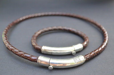Brown Sterling SIlver Thick Tube Set