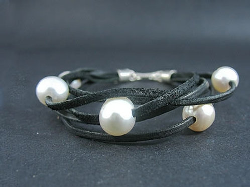 Five White Fresh Water Pearl Lace Bracelet
