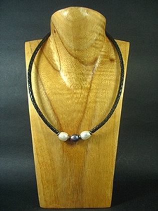 2 White & 1 Black Fresh Water Pearl Necklace