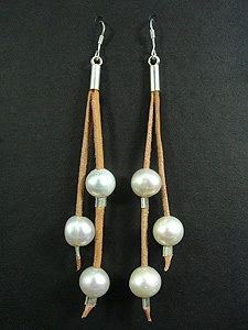 Lace Earrings with 3 White Fresh Water Pearl