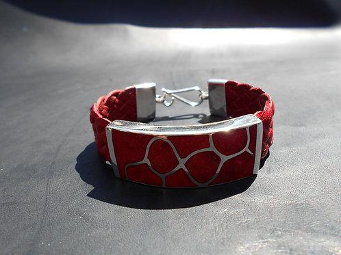 Red Coral in Sterling Silver Flat Bracelet