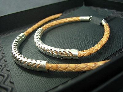 Natural Brown plaited Necklace & matching Bracelet