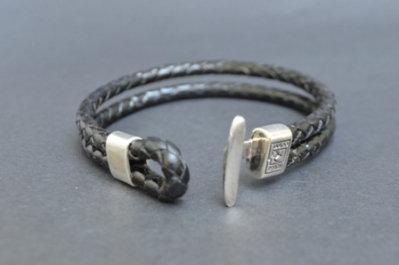 Cufflink style sterling silver bracelet