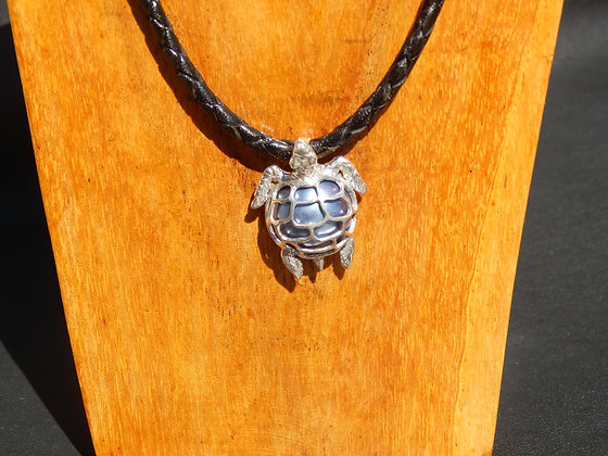Dark Blue Mabe Pearl Turtle in Silver Necklace