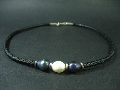 2 Black and 1 White Fresh Water Pearl Necklace