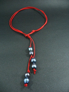 Slip Knot with 6 Black Fresh Water Pearl Necklace