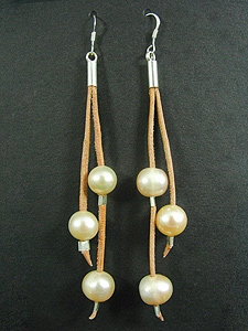Lace Earrings with 3 Pink Fresh Water Pearl
