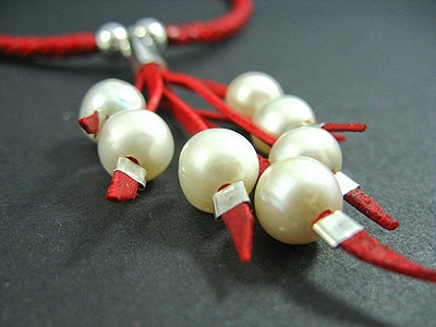 Plaited Necklace with 7 Fresh Water Pearl Necklace