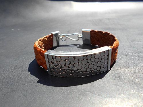 Hammered Sterling Silver Flat Bracelet