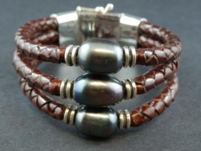 Triple Black Fresh Water Pearl Bracelet