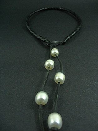 Slip Knot With 6 White Fresh Water Pearl Necklace