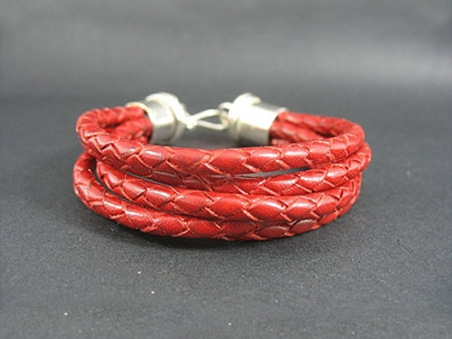 5 Plaited Cord Bracelet with Sterling Silver