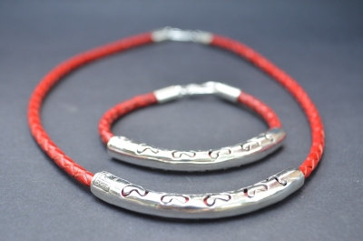 Red Sterling SIlver Ornamental Cut Gift Set