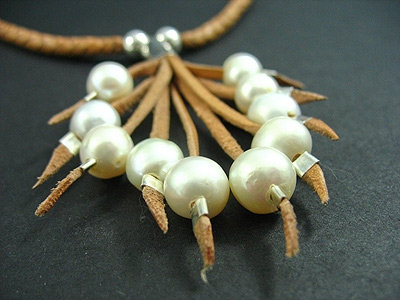 Plaited Necklace with 10 Fresh Water Pearl Necklac