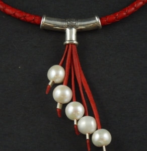 Leather Cascading 5 White Pearl Necklace