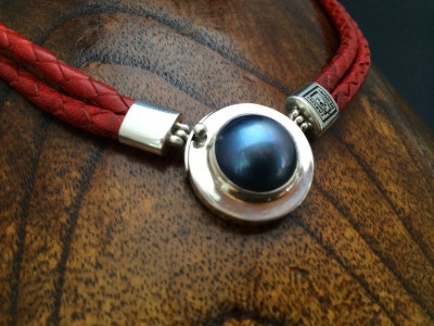Dark Blue  Mabe Pearl Necklace