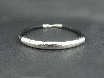 Long Plain Silver Tube Bracelet