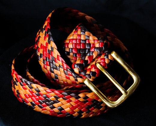 Multi-coloured Leather belt with Steel Buckle