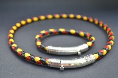 Black, Red & Yellow Sterling SIlver Thin Tube Set