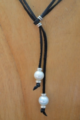 White Pearl Lace With Sterling Silver Necklace