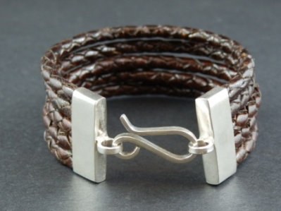 5 Plaited Cord Bracelet with Sterling Silver Clasp
