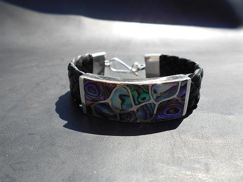 Paua Shell in Sterling Silver Flat Bracelet