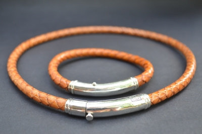 Natural Brown Sterling SIlver Thick Tube Set