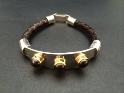 Black Pearl with Gold and Sterling Silver Bracelet