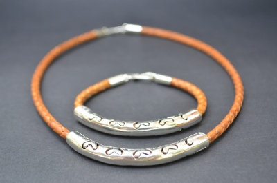 Natural Brown Sterling SIlver Ornamental Cut Set
