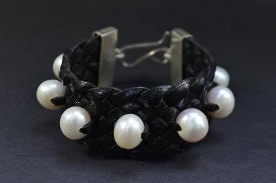 Seven Pearl Sterling Silver Bracelet