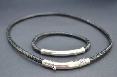 Black Sterling SIlver Thin Tube Gift Set
