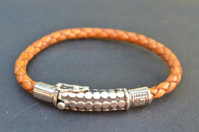 Dotted sterling silver clasp & lock bracelet